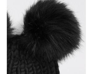 Black Imitation Fur Double Hat