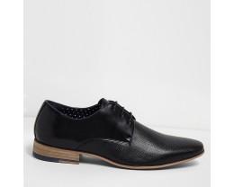 Black Textured Lace Up Dress Shoes
