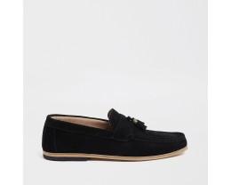 Black Suede Contrast High Heel Fringe Loafer *2