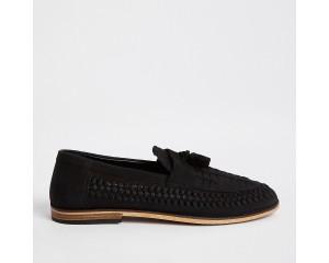 Black leather woven fringe front loafer