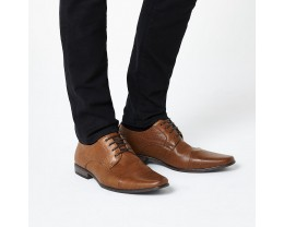 Brown Embossed Lace Up Derby Shoes
