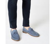 Blue leather woven fringe front loafer