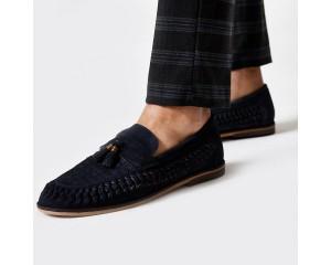 Navy Suede Woven Fringe Loafer