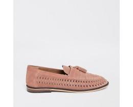 Pink Suede Woven Fringe Loafer