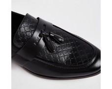Wide Black Lettered Fringe Sneakers