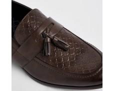 Wide Brown Lettered Fringe Loafer