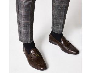 Dark Brown Fringed Loafers