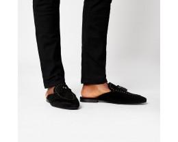 Tassel studded backless loafers-Black