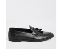Black Snakeskin Embossed Fringe Loafer