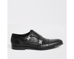 Black Imitation Belt Derby Shoes