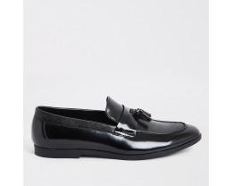 Black patent leather tassel loafers