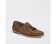 Brown Textured Suede Fringe Loafer