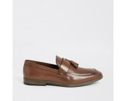 Brown leather fringe front textured loafer