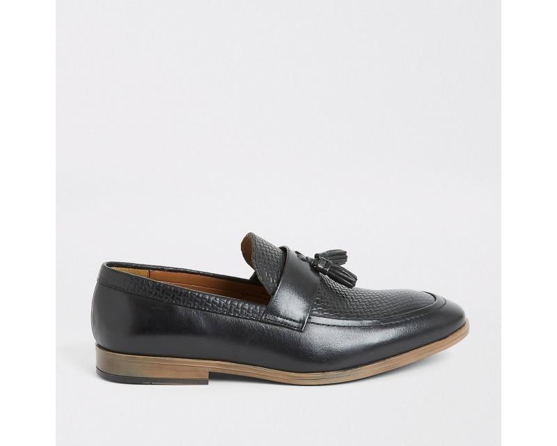 Black Leather Fringe Sneakers