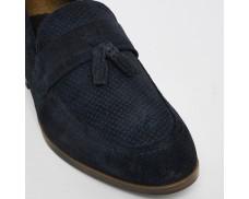 Blue Suede Fringe Textured Loafer