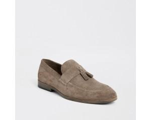 Stone Suede Fringe Textured Loafer