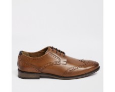 Wide Brown Genuine Leather Lace Up Sneakers