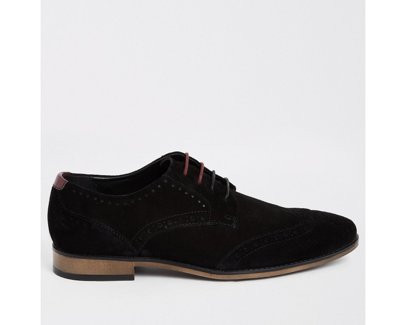 Black Wide Suede Lace Up Sneakers