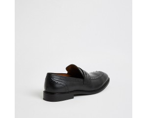 Leather Studded Casual Shoes - Black