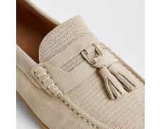 Grey Suede D-Ring Fringe Sneakers