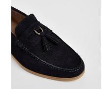 Navy Suede D-Ring Fringe Sneakers