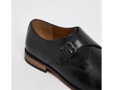 Black leather monk's strap shoes