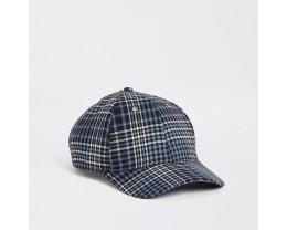 Navy Plaid Baseball Cap