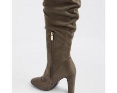 Dark Gray Knee-High Casual Boots