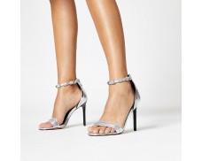 Silver Diamond Strap Heeled Sandals