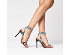 Pink Metallic Block Heeled Sandals