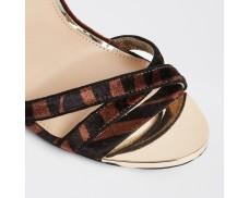 Brown Animal Print Cross Strap High Heeled Sandals