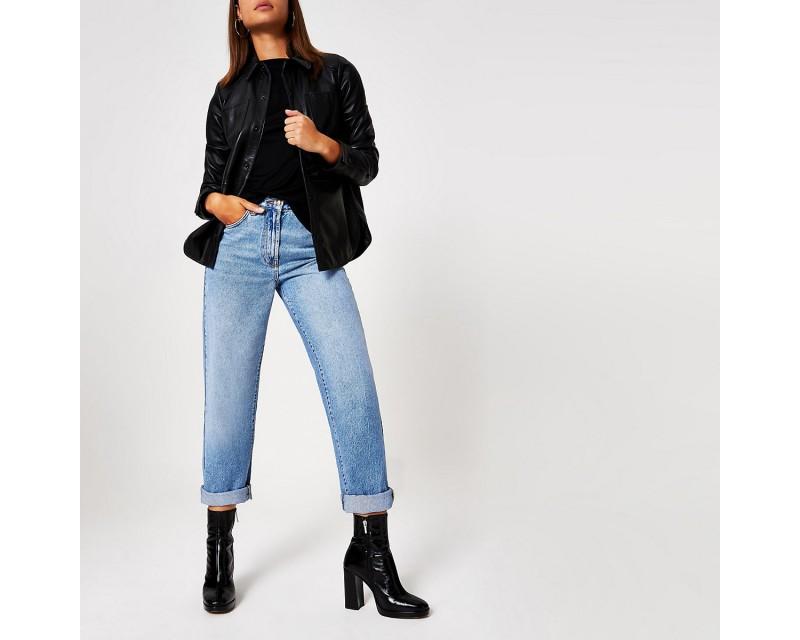 Leather High Heel Sock Boots - Black