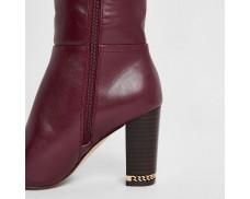 Purple Knee High Chain Heel Boots