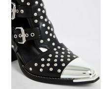 Black Riveted Skeleton Boots