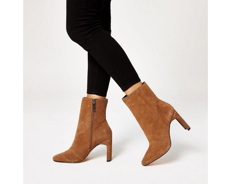 Beige Wide Suede High Heel Ankle Boots