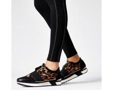 Leopard Print Black Elastic Athletic Shoes