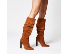 Suede High Heeled Slouchy Boots in Dark Orange