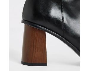 Black Leather Platform Wooden High Heeled Boots * 2
