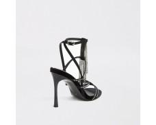 Black Diamonds Strap High Heeled Sandals