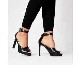 Embossed Platform Sandals - Black
