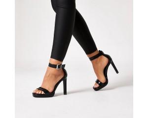 Black Embossed Platform High Heeled Sandals