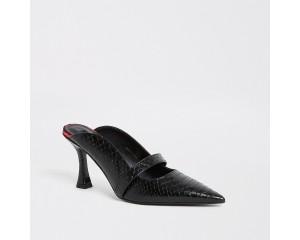 Black embossed mule flared heeled sandals