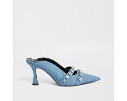 Blue denim embellished flared heel sandals