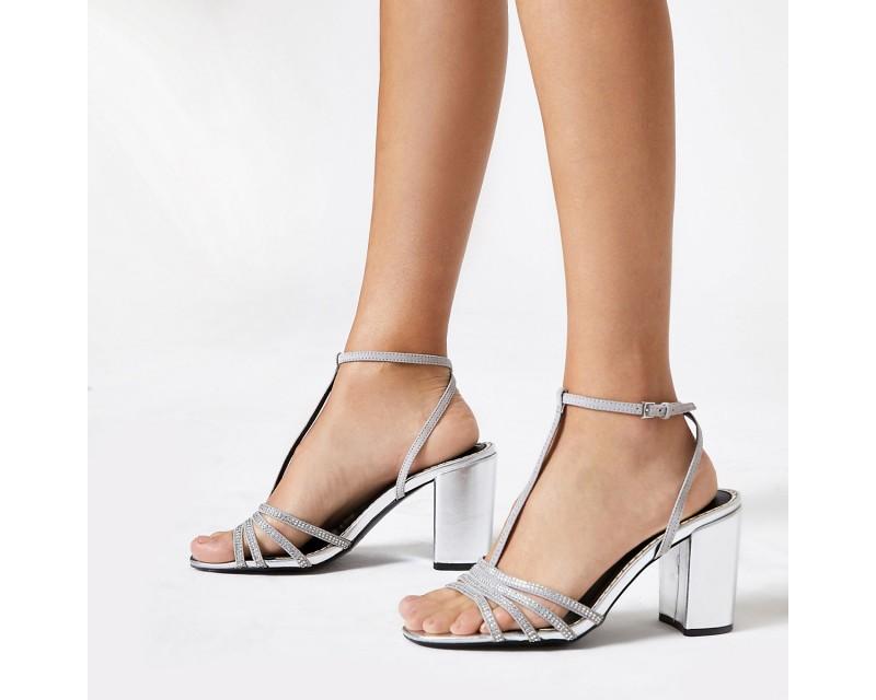 Silver Diamond T-Bar Wide Heeled Sandals