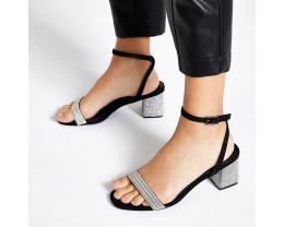 Black Diamond Block High Heeled Sandals