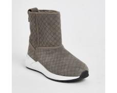 Grey Suede Alphabet Training Boots