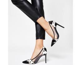 Black Cow Print Persimmon Heels * 3