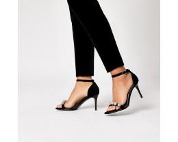 Black Diamond Studded High Heeled Sandals