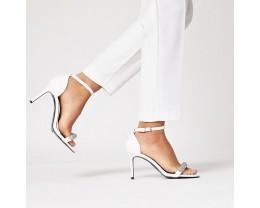 White Diamond Studded High Heeled Sandals