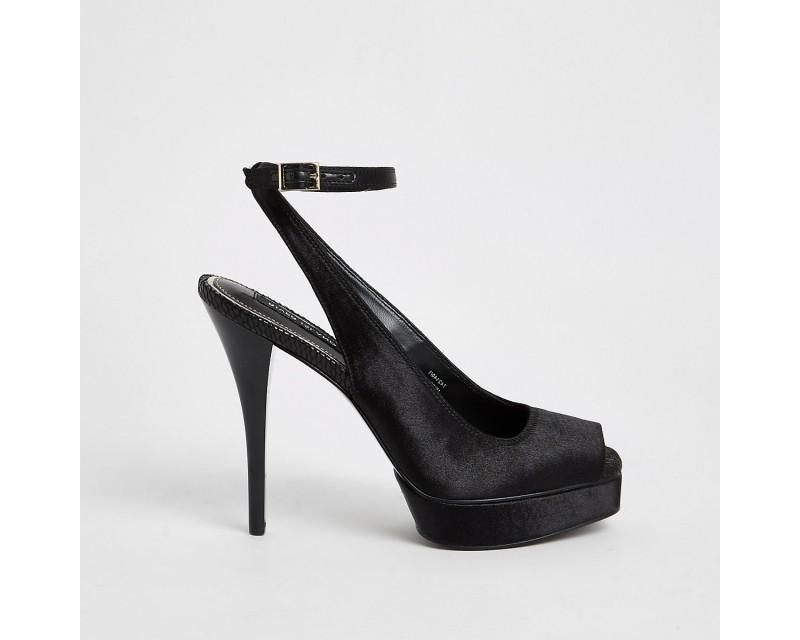 Black satin slingback flat sandals